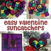 Finished suncatchers - Easy Valentine Suncatcher Crafts for Kids