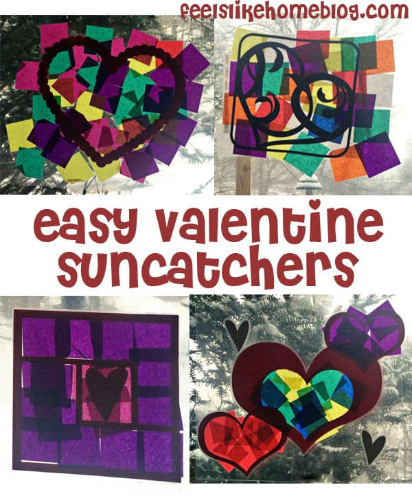 These pretty and fun tissue paper suncatchers are in the shape of hearts for Valentine's Day but could be made and loved any time of the year. Simple enough for toddlers and preschoolers, but interesting enough for older kids and teens (even adults!). The post gives tips for working with a 3-year-old on the project.