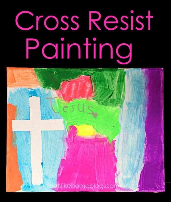 Simple and easy art projects for kids - Cross resist painting on canvas. Fun activity for Sunday School, classroom, or home using painters tape and watercolors or acrylic paint. Great ideas and activities for Easter, Christmas, or any time of year. For boys and girls.