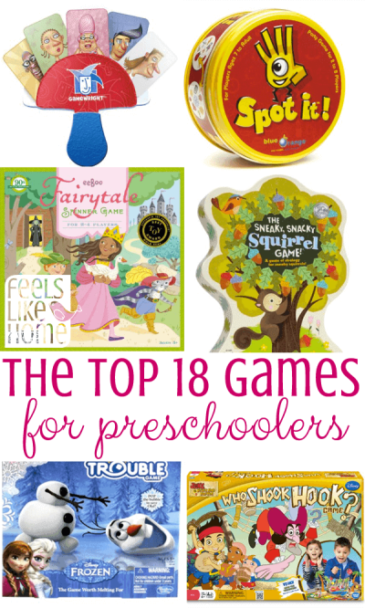 The Best Games for Preschoolers - Tips and ideas for the best simple and easy games for preschoolers and toddlers. Family game night board, dice, and card games for kids and adults to play together, especially for you have a non-reader. These games make great gifts to buy and are the perfect addition to any home's game basket. Great to play on Thanksgiving, Christmas, New Year's Eve, or any holiday. Games for all ages to play together.