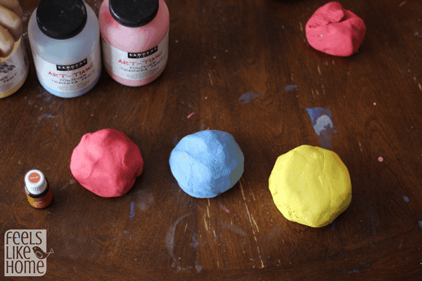 Homemade play dough in the primary colors