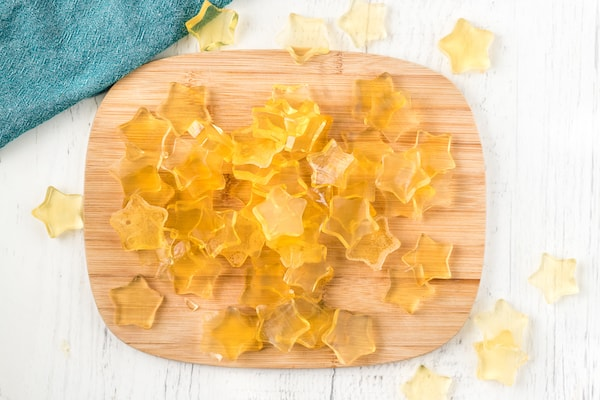 lots of healthy homemade fruit snacks on a cutting board