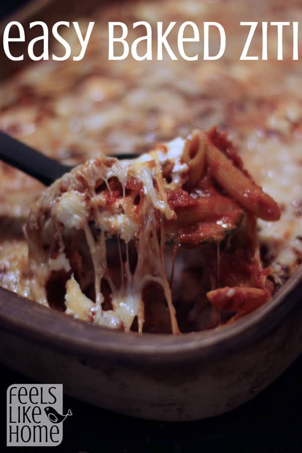 This super quick and easy baked ziti recipe can be made with regular pasta or gluten-free pasta, making it the perfect dinner for any table! We have used this recipe for years! It is the BEST! Made with ricotta, mozzarella, and Parmesan cheeses and ground beef or sausage. The meat makes it so good, but you could make it meatless too. There is no recipe better than this cheesy, creamy, Italian wonder. Classic, simple comfort food.