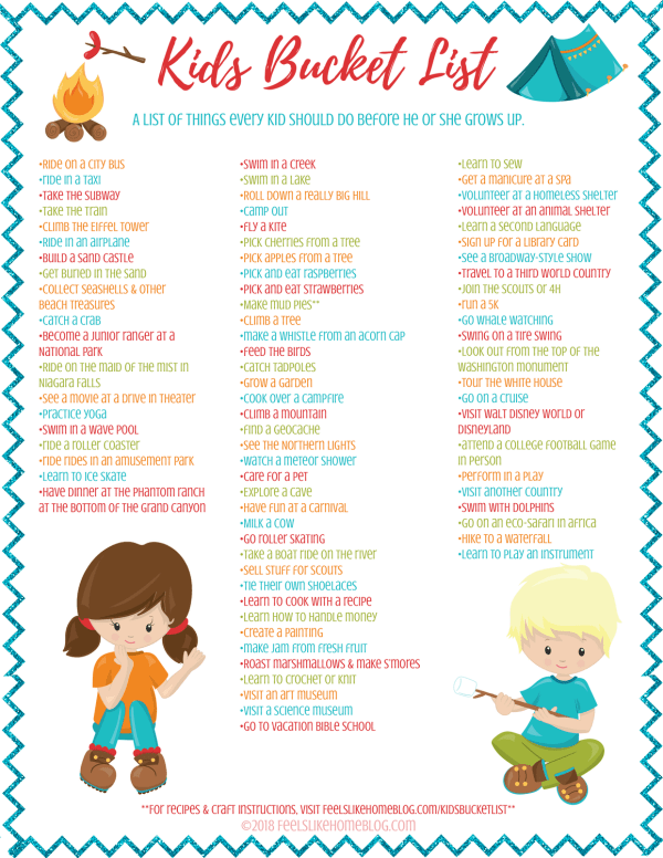 Kids' Bucket List - Almost 100 ideas and experiences that every kid should have. Some for boys, but mostly for girls. Year round fun for summer, winter, spring, and fall. These are the activities and things that all children should 'do before I die.' Awesome ideas for friends and family road trips and vacations. Mom and Dad will have great memories of childhood as well as their kids.