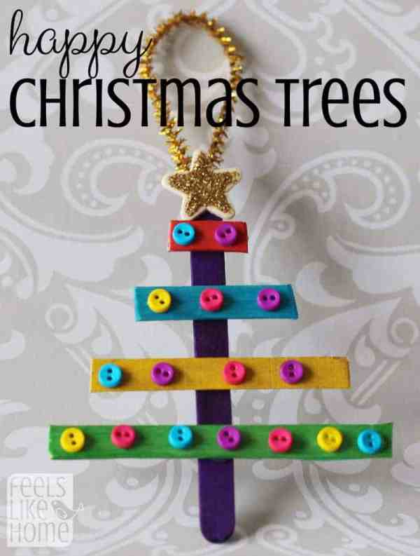 Simple and easy popsicle stick crafts for kids - These cute and colorful Christmas tree ornaments will make your home look great! Perfect for a quick craft for toddlers, preschoolers, kids, and teens! DIY holiday projects for boys or girls. No mess! Awesome fun project preschool, church, or home.