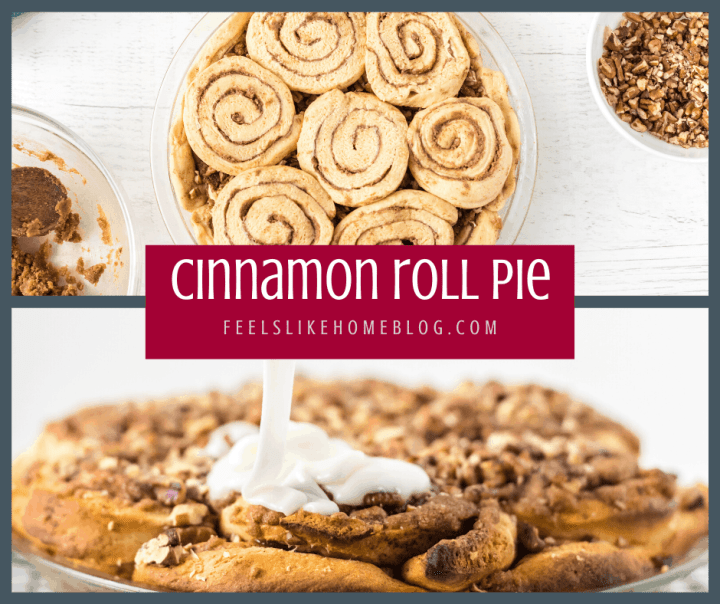 Cinnamon roll pie before going into the oven