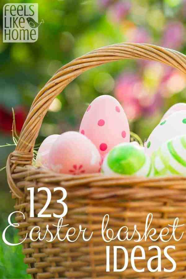 A close up of an Easter basket