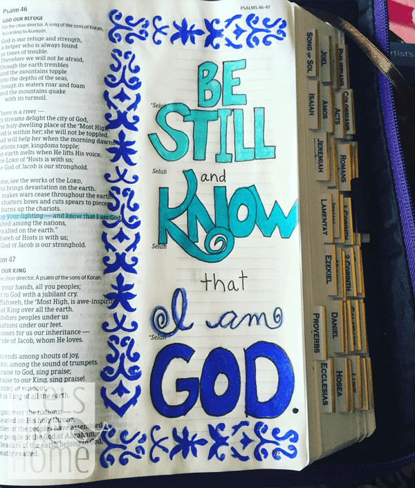 A close up of Bible journaling on a white surface
