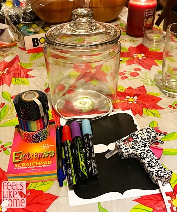 Materials to make a gratitude jar