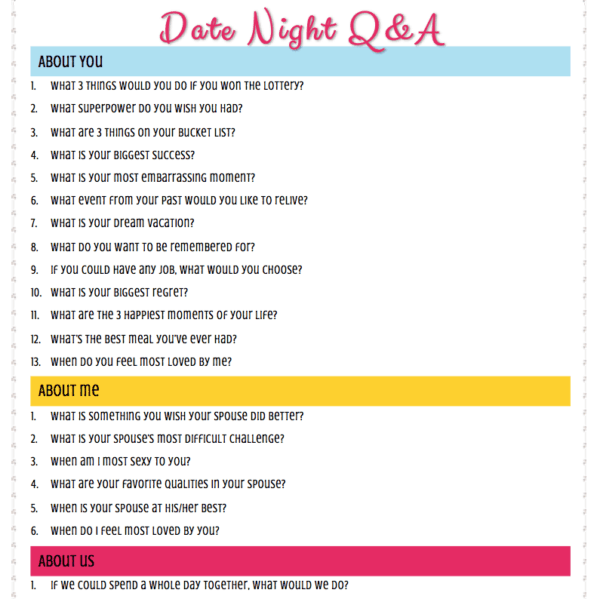 Date Night Questions - Conversation Starters for Married Couples ...