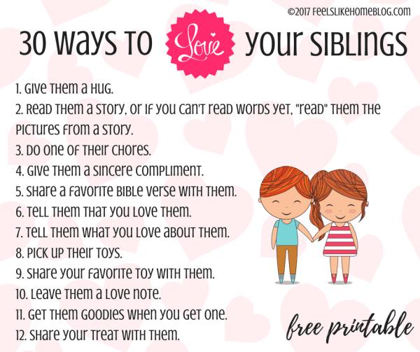 love your siblings printable