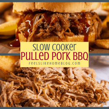 a collage of pulled pork and a pulled pork sandwich with BBQ sauce