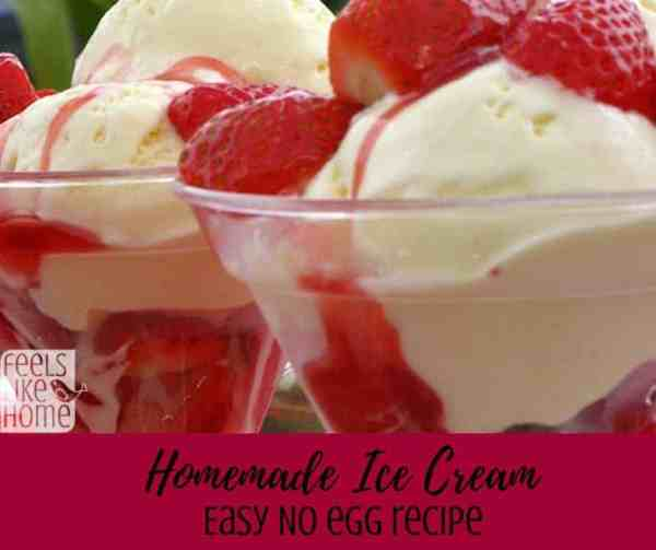How to make the best homemade vanilla ice cream recipe including variations for many different fruit flavors including strawberry and chocolate! This simple and easy recipe has no cooking, is made without eggs, and uses an ice cream maker machine to make the finished product. This quick eggless recipe is also no cook!