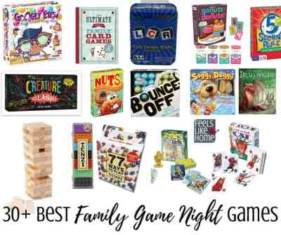A collage of family games