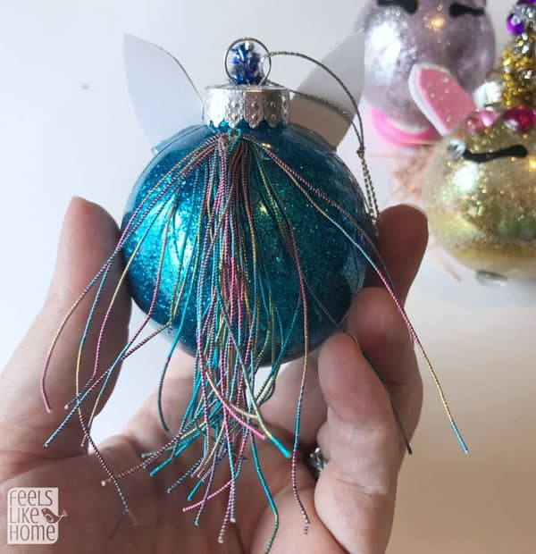 The finished unicorn ornament from the back