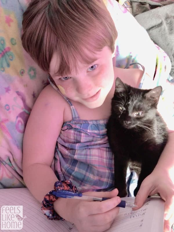 A cat and a little girl sitting on a bed