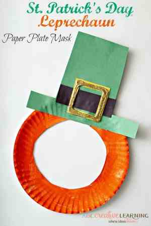 A leprechaun mask made from a paper plate