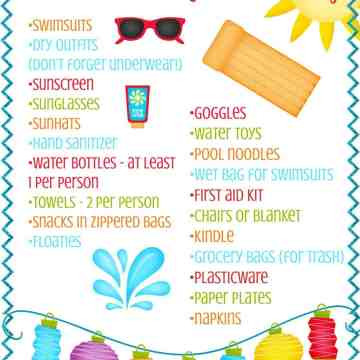 A printable about the swimming pool