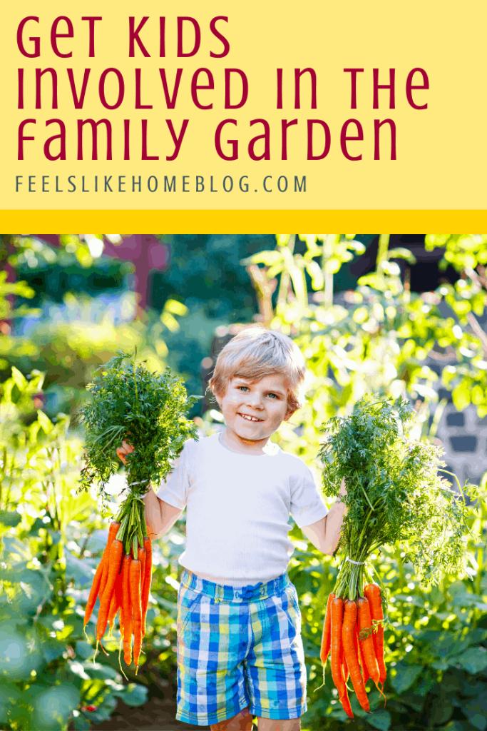 A boy harvesting carrots in a garden