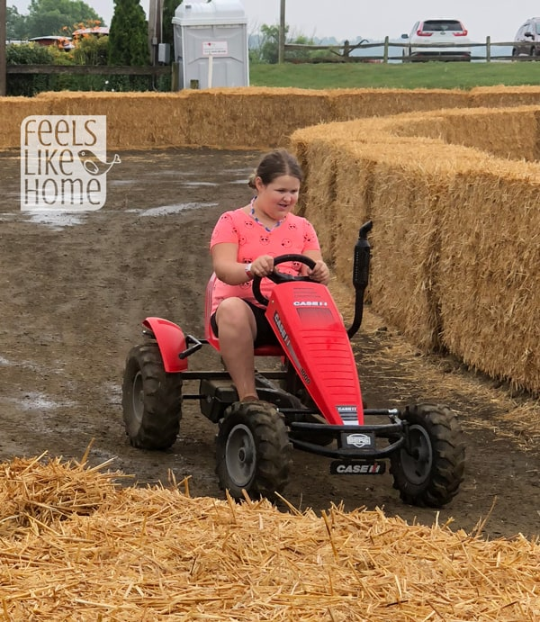 A girl riding a go cart
