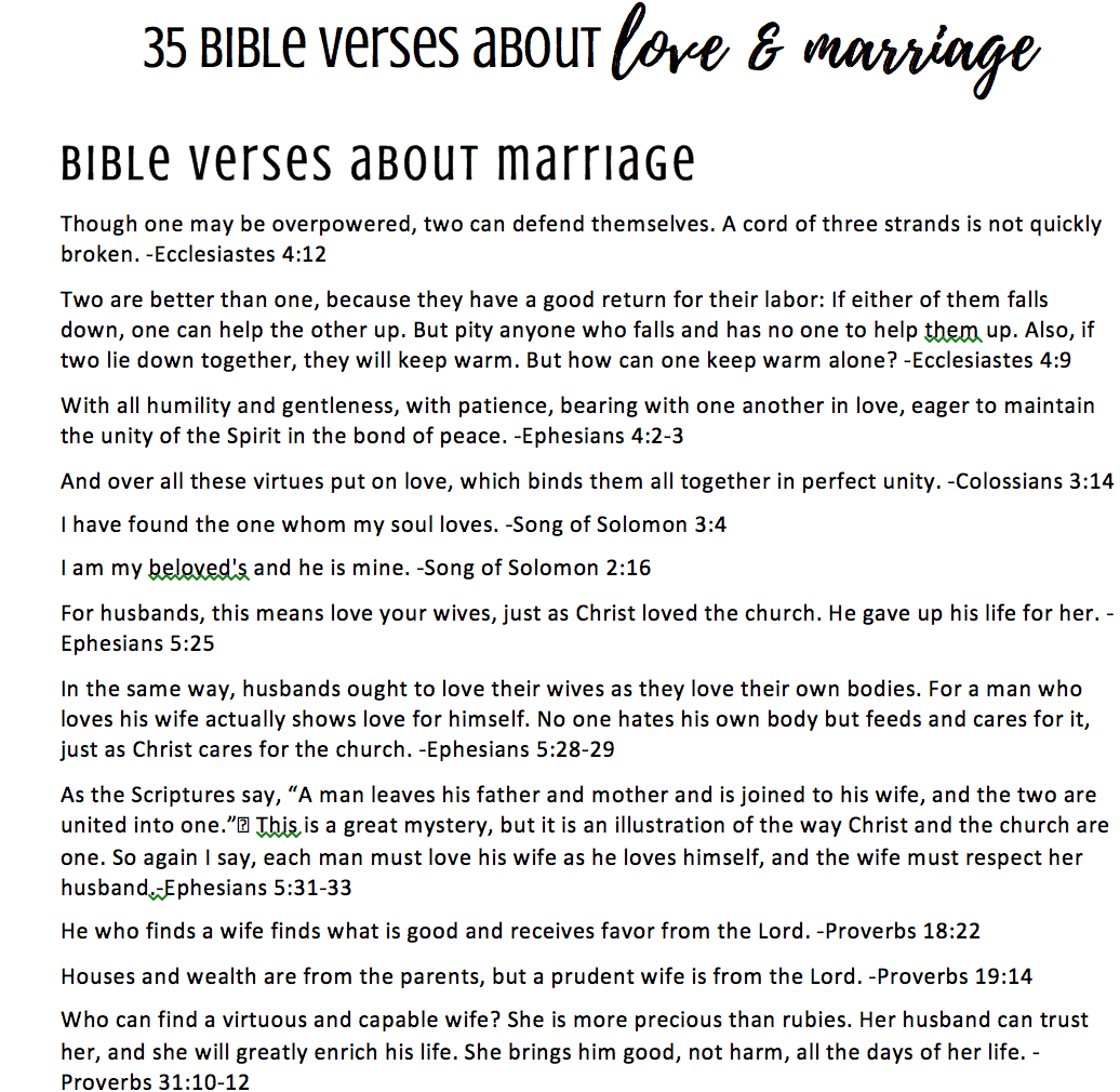 35 Bible Verses On Love Amp Marriage Printable