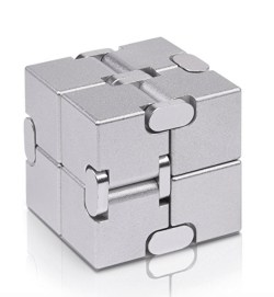 A close up of a fidget cube