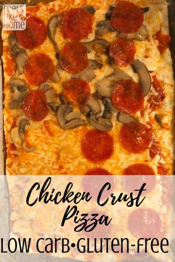 The best simple & easy low carb chicken crust pizza - Uses ground chicken to make a crispy crust, topped with shredded cheese and other toppings like pepperoni and mushrooms. Great for bariatric patients and those on a keto, paleo diet. Very healthy and high in protein.