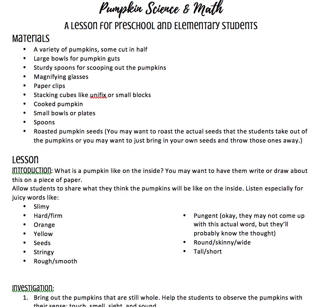 Pumpkin Science Lesson Plan For Preschool Kindergarten