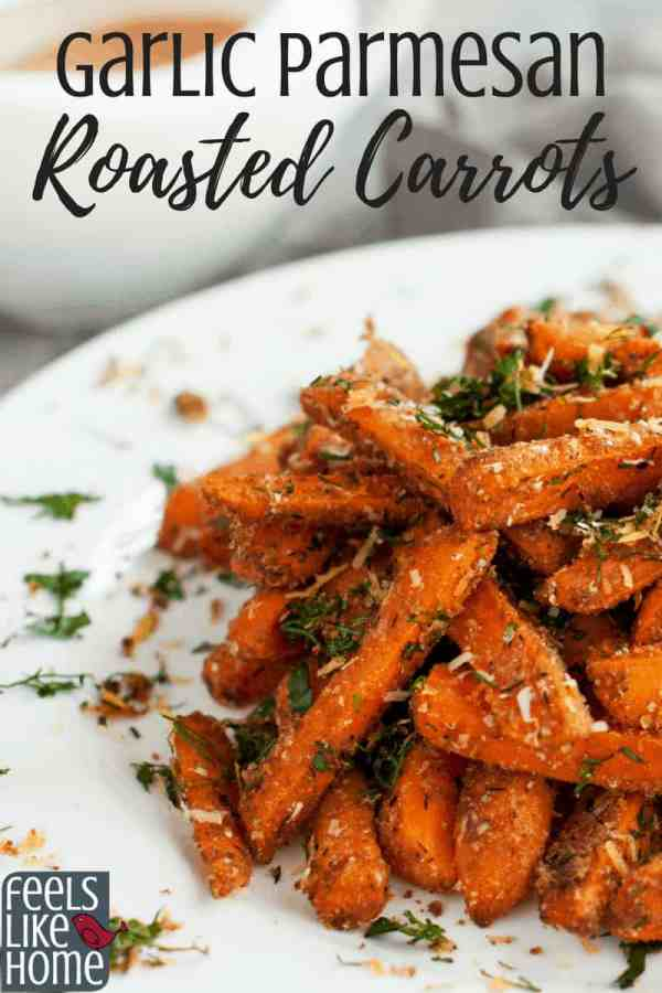 A plate of roasted carrots