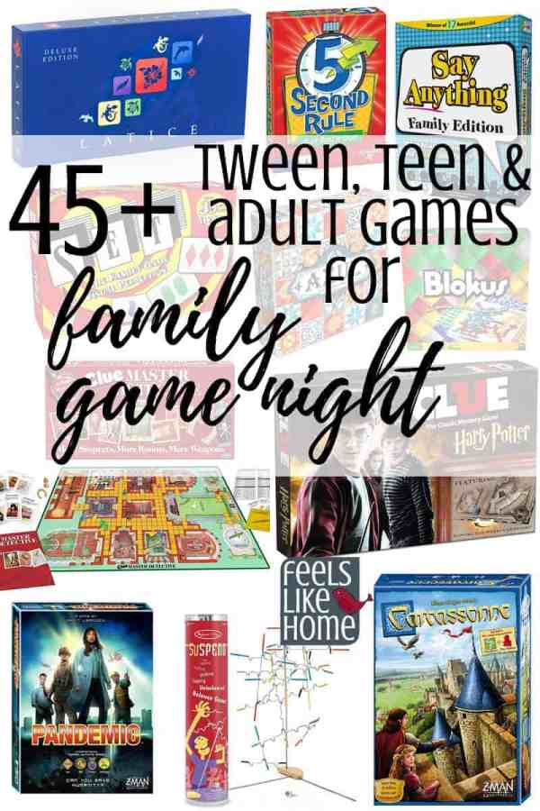 45+ best tween, teen, & adult games for family game night, even games for the kids! Tips and ideas for the 45+ best simple and easy family game night board, dice, and card games for children and adults to play together. These games make great gifts to buy and are the perfect addition to any home's game basket. Great to play on Thanksgiving, Christmas, New Year's Eve, or any holiday. Games for older kids, tweens, teens, and adults to play together.