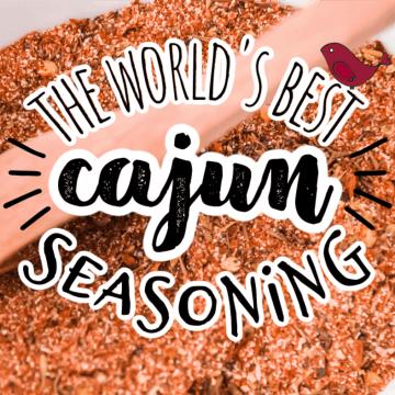 cajun seasoning with a wooden measuring spoon