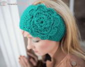 a handmade crocheted flower headband