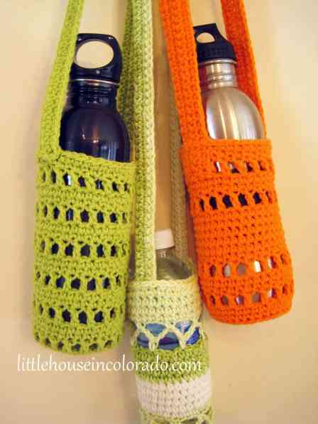 crocheted water bottle holders