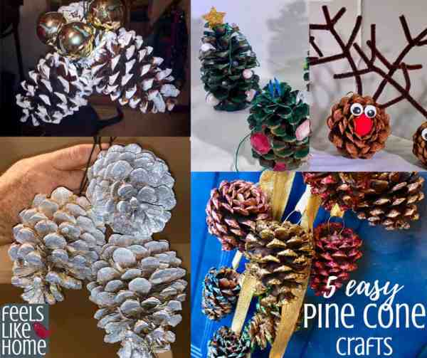 A close up of many different types of pine cone crafts