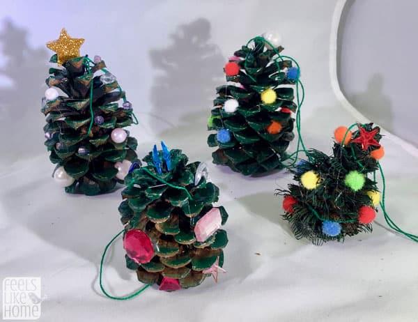 4 pine cone Christmas trees