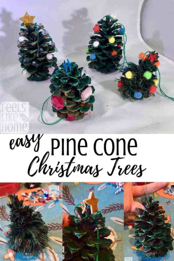 A collage of pine cone crafts