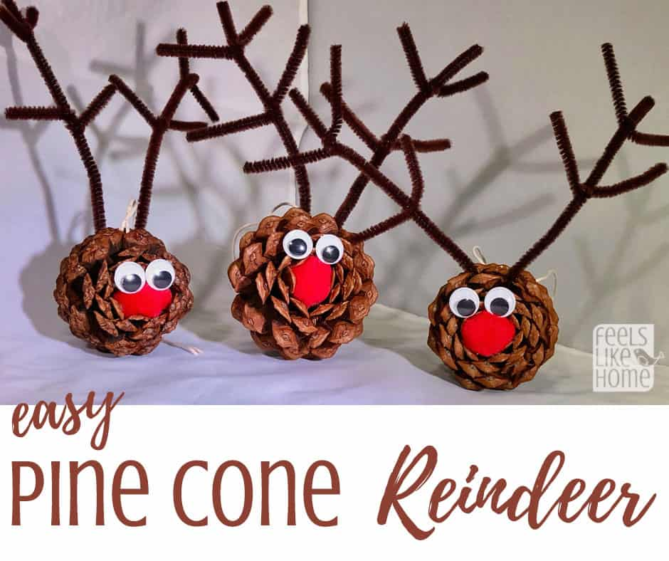 Easy & cute DIY pine cone crafts for kids - This Rudolph the Red Nosed Reindeer craft is so simple even preschoolers can make it! Makes a great ornament for the Christmas tree. These projects work well with big or small pine cones and make great Xmas gifts or package decorations. Perfect for children in kindergarten or any age.