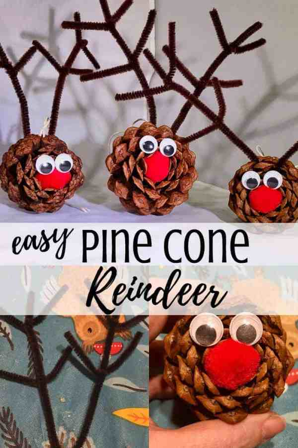 A collage of pine cone reindeer