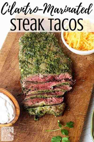 A close up of cilantro marinated flank steak