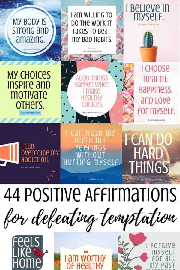 44 positive affirmations for defeating temptation and overcoming addiction - You will find tons of encouragement and inspiration for recovery and making healthy decisions and choices in these 44 printable positive affirmations cards for kids, teens, and adults. Calm, peaceful thoughts, these inspiring words will expose the truths of our power in a repeatable way.