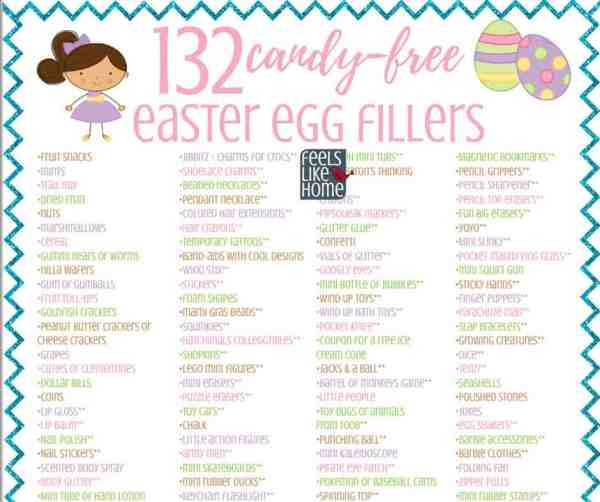 printable list of easter egg fillers