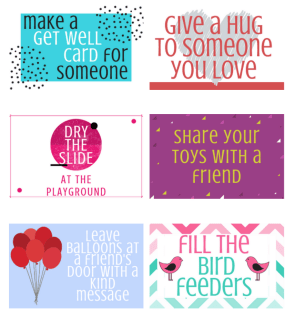 A collage of random acts of kindness cards for kids