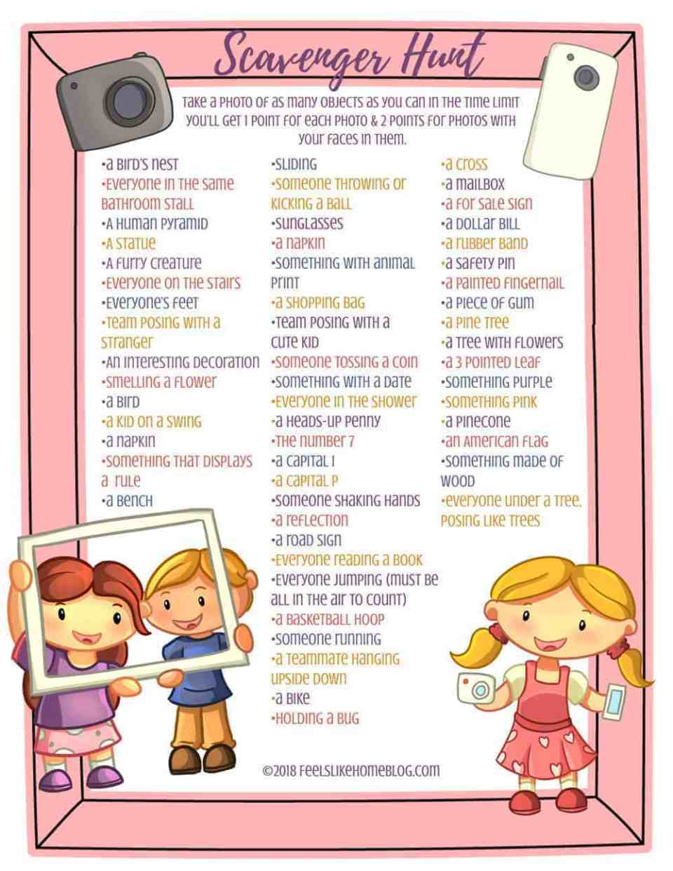 Photo Scavenger hunt for Kids, Tweens, Teens, & Adults - This awesome list includes both indoor and outdoor ideas. Perfect for a birthday party, group, or team event. Could be done at school, home, Girl Scouts, or homeschool. Great family activity for spring, summer, or fall.
