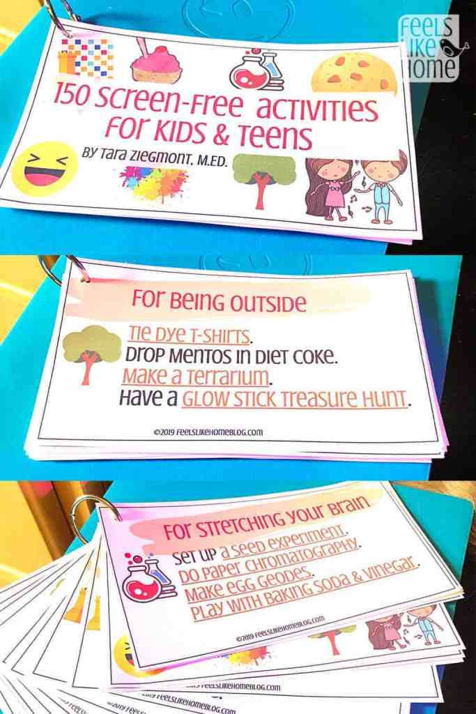 A collage of activity cards