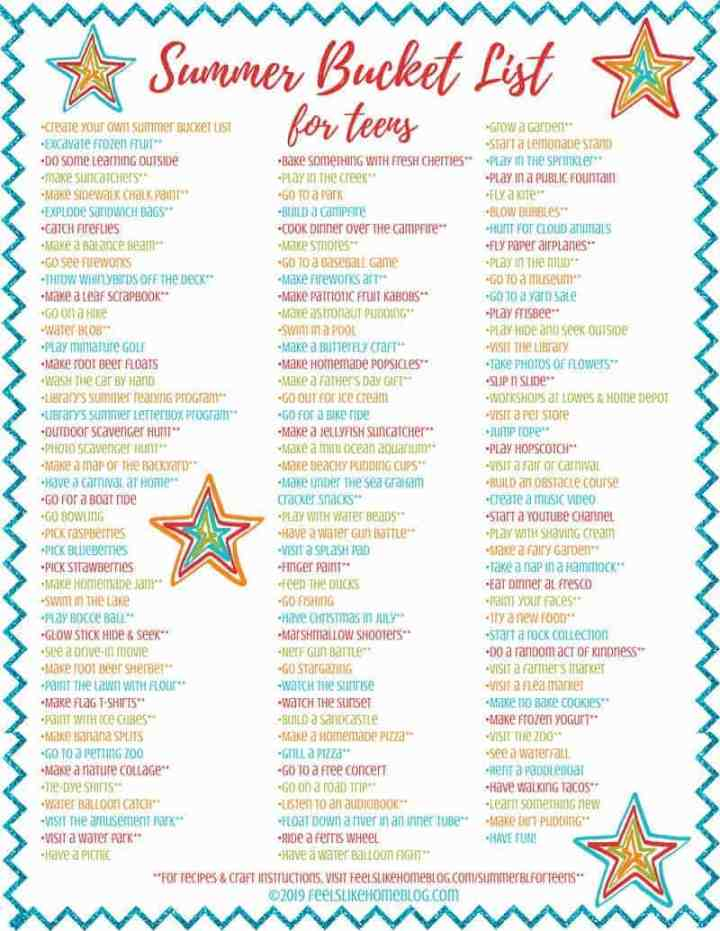 Summer Bucket List for Tweens & Teens - Free Family Printable