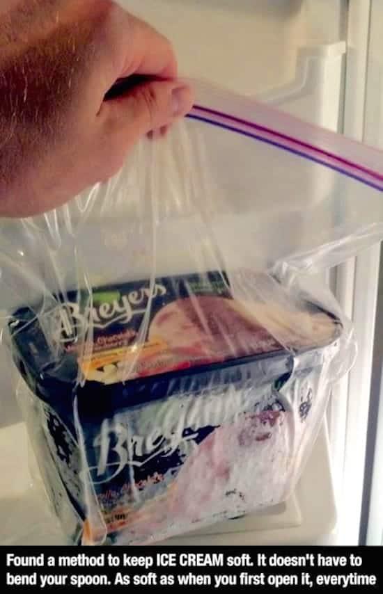 Ice cream in a zippered bag