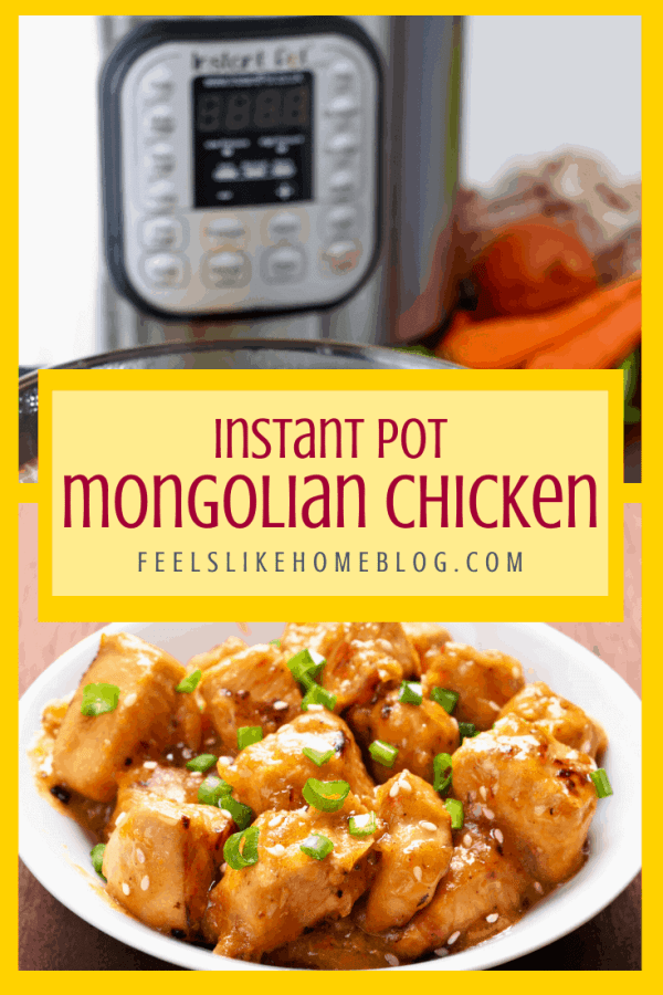 A plate of Mongolian chicken with an Instant Pot