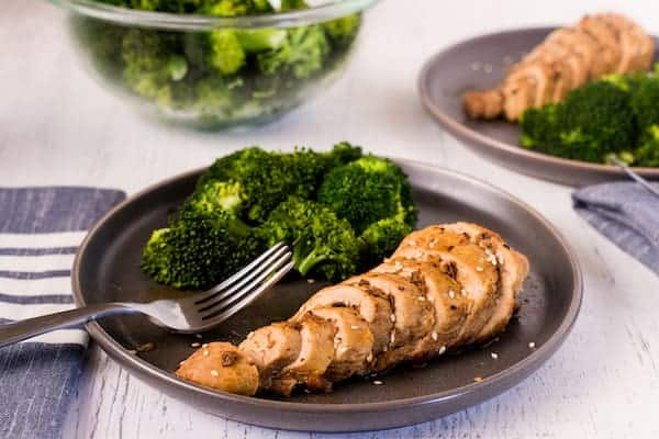 Garlic chicken on a plate with broccoli