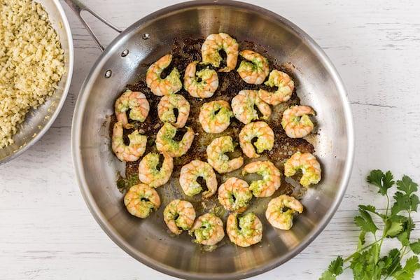 cilantro lime shrimp in pan