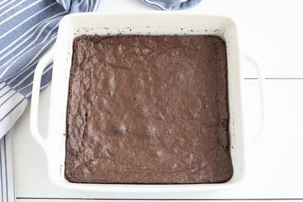 fudge brownies in the pan before cutting